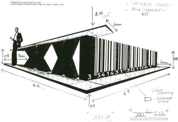 Boceto de la instalación Code s.XXI